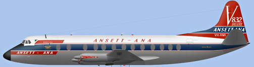 David Carter illustration of ANSETT-ANA Viscount VH-RMI