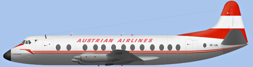 David Carter illustration of Austrian Airlines Viscount OE-LAL