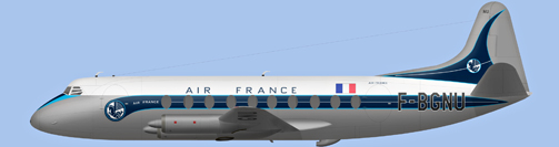David Carter illustration of Air France Viscount F-BGNU
