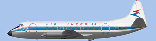 David Carter illustration of Air Inter Viscount F-BLHI