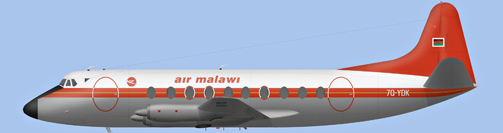 David Carter illustration of Air Malawi Viscount 7Q-YDK