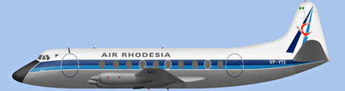 David Carter illustration of Air Rhodesia Viscount VP-YTE