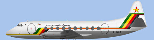 David Carter illustration of Air Zimbabwe Viscount Z-WAT