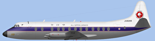 David Carter illustration of All Nippon Airways V.828 Viscount c/n 458 JA8209