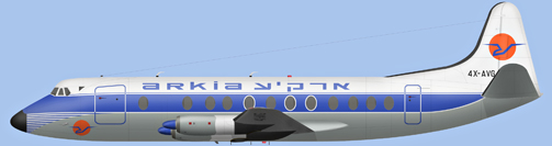 David Carter illustration of Arkia - Israel Inland Airlines Viscount 4X-AVG
