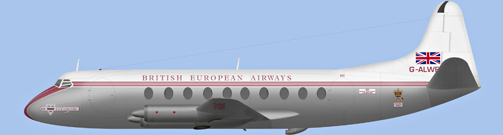 David Carter illustration of British European Airways (BEA) V.701 Viscount c/n 4 G-ALWE