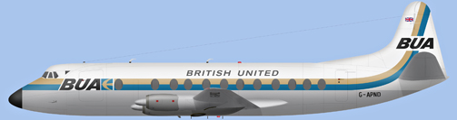 David Carter illustration of British United Airways Viscount G-APND