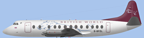 David Carter illustration of British World Airlines Viscount G-BFZL