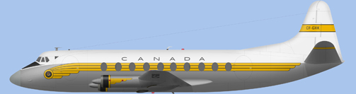 David Carter illustration of Canadian Department of Transport V.737 Viscount c/n 70 CF-GXK
