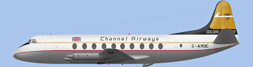 David Carter illustration of Channel Airways Viscount G-AMOC