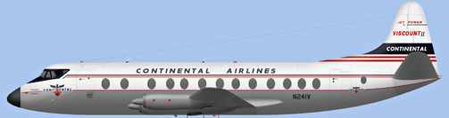 David Carter illustration of Continental Airlines Viscount N241V