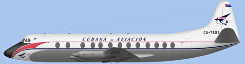 David Carter illustration of Compania Cubana de Aviación SA Viscount CU-T623
