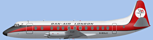 David Carter illustration of Dan-Air London Viscount G-BGLC