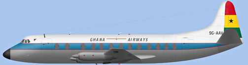 David Carter illustration of Ghana Airways Viscount 9G-AAV