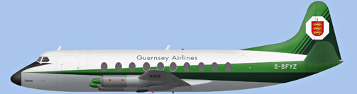David Carter illustration of Guernsey Airlines Viscount G-BFYZ