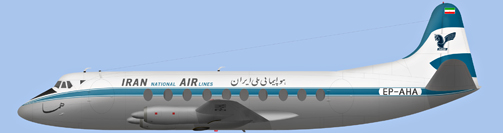David Carter illustration of Iran National Airlines Corporation Viscount EP-AHA