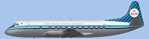 David Carter illustration of KLM - Royal Dutch Airlines Viscount PH-VII