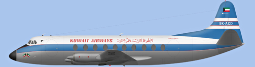 David Carter illustration of Kuwait Airways Viscount 9K-ACD