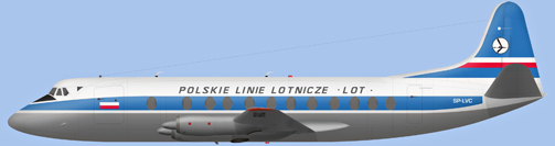 David Carter illustration of Polskie Linie Lotnicze Viscount SP-LVC