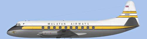 David Carter illustration of Malayan Airways Viscount VR-SEE