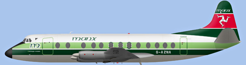 David Carter illustration of Manx Airlines (Skianyn Vannin) Viscount G-AZNA