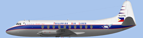 David Carter illustration of Philippine Air Lines Viscount PI-C770