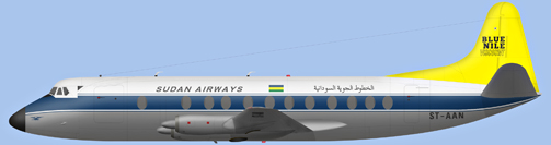 David Carter illustration of Sudan Airways Viscount ST-AAN