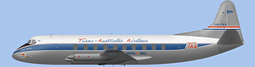 David Carter illustration of Trans-Australia Airlines Viscount VH-TVB