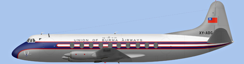 David Carter illustration of Union of Burma Airways Viscount XY-ADG