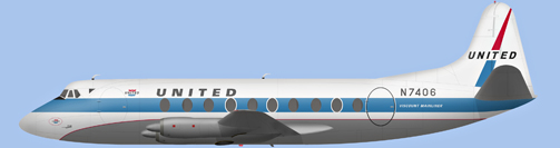 David Carter illustration of United Air Lines Viscount N7406
