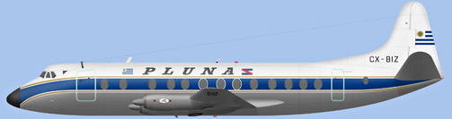 David Carter illustration of Primeras Lineas Uruguayas de Navegacion Aerea Viscount CX-BIZ