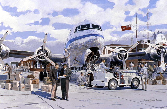 Jim Bruce's painting of the TransAir Douglas DC-4 CF-JEA