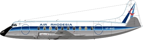 Nick Webb illustration of Air Rhodesia Viscount VP-WAS