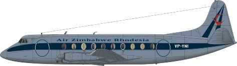Nick Webb illustration of Air Zimbabwe Rhodesia Viscount VP-YNI