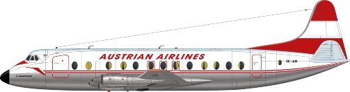 Nick Webb illustration of Austrian Airlines Viscount OE-LAM