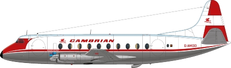 Nick Webb illustration of Cambrian Airways Viscount G-AMOO