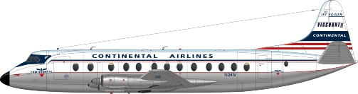 Nick Webb illustration of Continental Airlines Viscount N241V