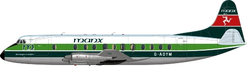 Nick Webb illustration of Manx Airlines Viscount G-AOYM