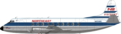 Nick Webb illustration of Northeast Airlines Viscount N6598C