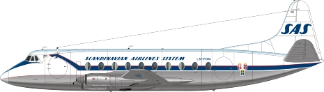 Nick Webb illustration of Scandinavian Airlines System Viscount LN-FOM