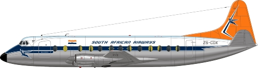 Nick Webb illustration of South African Airways Viscount ZS-CDX