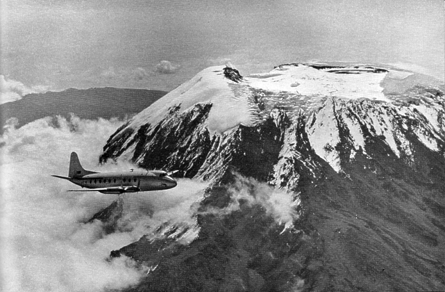 Prototype Viscount c/n 1 G-AHRF in flight near Mount Kilimanjaro