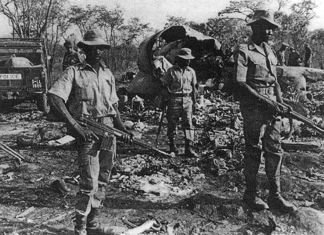 Local police officers guarding the wreckage of Air Rhodesia V.782D Viscount c/n 297 VP-WAS