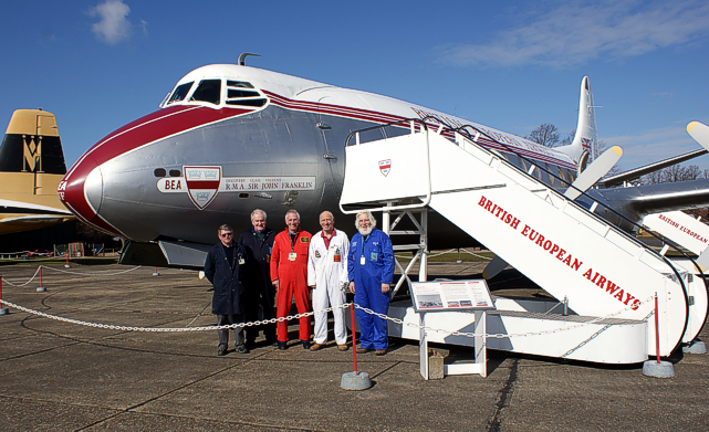 Duxford Aviation Society Viscount restoration team Jeff Croft, Trevor Yeldham, John Overhill, Paul Harrison and Alan Brown.