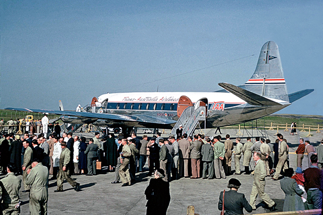 The scene at Essendon Airport, Melbourne, as the first Australian Viscount taxied to a halt on arrival from England