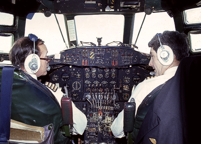 The flight deck of G-ALWF taken on the 12th April 1972 during its delivery and final flight from Heathrow, London, England to Speke, Liverpool, England being piloted by Captains Geoff A Perrott and John Nelmes. On board was Sir George Edwards - designer of the Viscount.