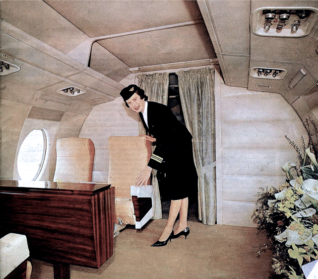 Royal Flight cabin and Natalie Coe on Viscount c/n 282 ZK-BRE