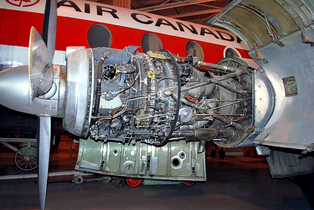 Viscount c/n 279 CF-THS showing where the water-methanol control unit has been replaced by an aluminium sheet housing