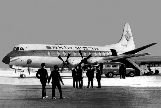 Brian's last Viscount logged, c/n 424 4X-AVB here pictured at Nicosia, Cyprus