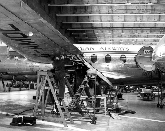 BEA - British European Airways Viscount c/n 25 G-AMOL undergoing wing flap modifications